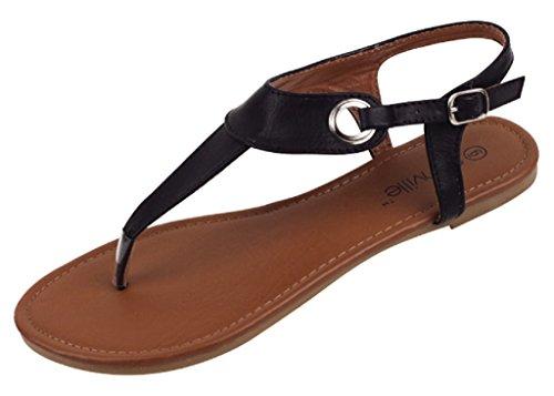 Shoes 18 Womens Roman Gladiator Sandals Flats Thongs 2207 Black 9