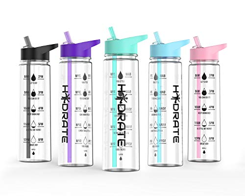 HYDRATE Motivational 900ml Straw Water Bottle – with Time Markings, BPA-Free (Mint Green)