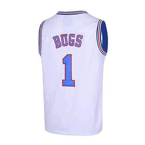 TUEIKGU Bugs 1 Space Men's Movie Jersey Basketball Jersey S-XXL White (Medium)