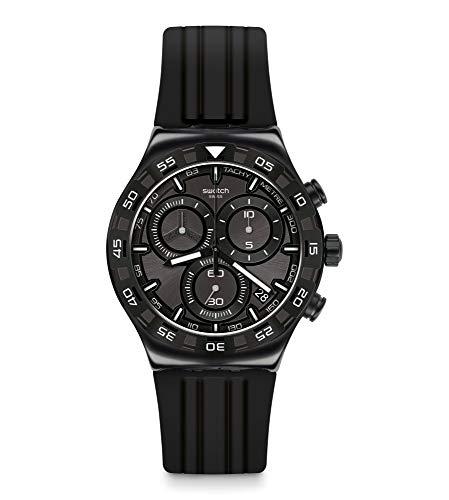 Swatch orologio TECKNO Black Irony Chrono 43mm quarzo YVB409