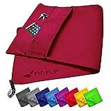 Fit-Flip Fitness Handtuch Set mit Reißverschluss Fach + Magnetclip + extra Sporthandtuch | zum...