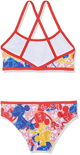 Speedo Girls' Disney Mickey Mouse Allover 2-Piece Suit, Mickeycamo Blue/Red/Yellow, Size 34