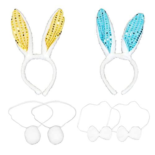 PIXNOR 2 Set de Disfraz de Conejito Accesorio de Cosplay de Conejo Orejas de Lentejuelas Bonitas Diadema Pajarita de Cola para Adultos Niños Fiesta de Rendimiento Suministros