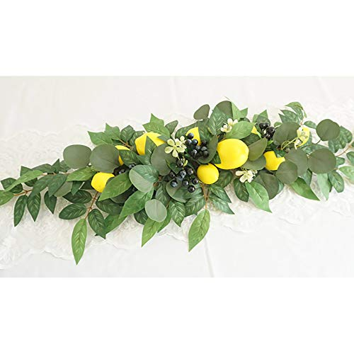 AK-XING Artificial Flower Swag with Lemon Berry, Faux Greenery Garland, Farmhouse Floral Garland for Home Wedding Office Party Decor