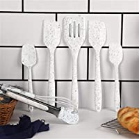 調理器具 シリコーンの台所用品調理器具セットクリスマスホリデースタイルの耐熱キッチン非棒調理器具ベーキングツール (Color : White 7PCS)