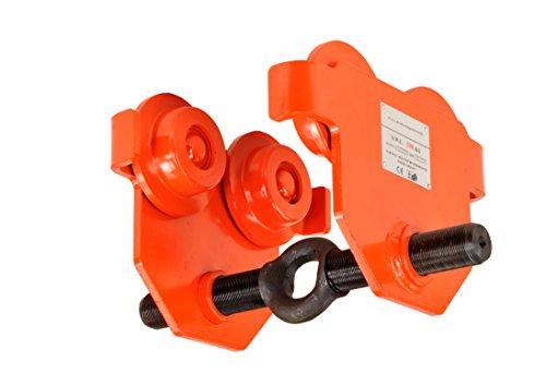 Pro-Lift-Werkzeuge Laufkatze 500 kg Rollfahrwerk Öse in Gewindestange integriert Handfahrwerk Unterflansch 50 mm – 220 mm Flanschbreite Hallenkran Kettenzug 0,5 t Plain Trolley