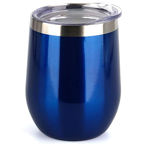 SUNWILL Insulated Wine Tumbler with Lid (Glass Blue), Stemless...