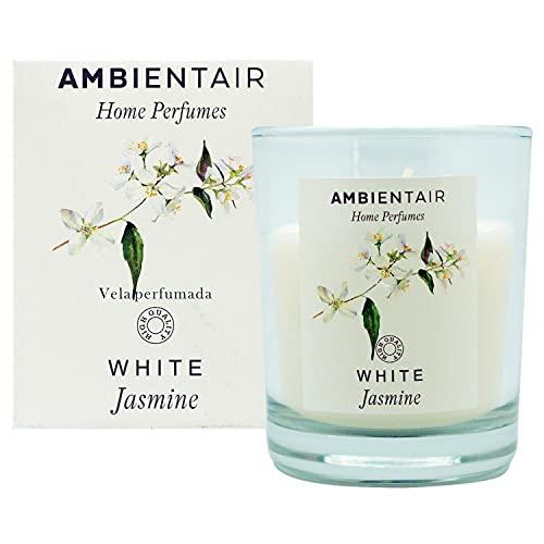Ambientair Home Perfume. Vela aromática White Jasmine, ambientador de jazmín, Vela aromática para casa, Aromaterapia, Vela en vaso de cristal para interiores. Duración 30 horas.