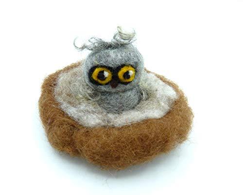 Filzeule, Eule gefilzt im Nest, Filztiere Eulen