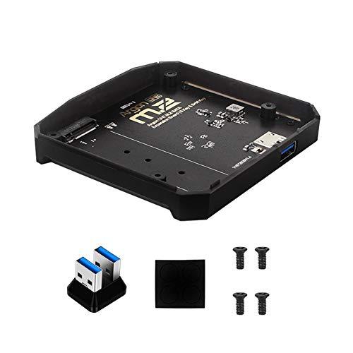 M.2 Funda para Raspberry Pi 4B M.2 SATA SSD a USB 3.0 placa B-Key y B+M Key compatible con frambuesa Pi 4B Base para Argon ONE V2/M.2 Caso la placa adaptadora (tamaño: 10,6 x 9,5 cm)