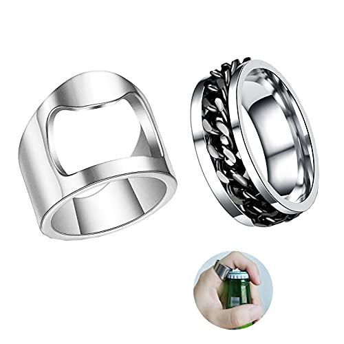 Bottle Opener Ring for Men Beer Opening Ring Stainless Steel Creative Beer Bar Rings for Women(Bottle Opener Ring 6)