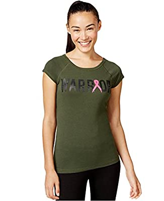 Ideology Womens Pink Ribbon Warrior Graphic Pullover Top