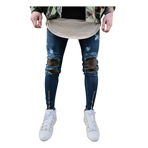 2021 Nuevo Pantalones Vaqueros para Hombre, Casual Jeans Moda Pantalones Vaqueros Rotos Hombre Trend Largo Pantalones Pants Skinny Pantalon Ropa Fitness Hombre Jeans Largos Pantalones
