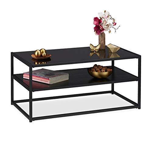Relaxdays Couchtisch Glas, 2 Ablagen, Metall & Glasplatte, Sofatisch für Wohnzimmer, HxBxT: ca. 42 x 90 x 50 cm, schwarz, Metall, MDF