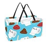 Bolsa de comestibles reutilizable grande, resistente bolsa de compras con parte inferior reforzada y asa (impresión divertida de papel higiénico de dibujos animados)