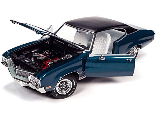 1970 Buiсk GS 455 Stage 1 Hardtop Diplomat Blue Met. Hemmings Muscle Machines Magazine Cover Car (July 2019) 1/18 Diecast Model by Autoworld AMM1242