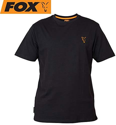 Fox Collection Black Orange T-Shirt - Angelshirt für Karpfenangler & Wallerangler, Shirt für Angler, TShirt, Anglershirt, Größe:XL