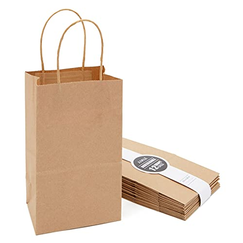 Small Brown Gift Bags with Handles for Birthday Party Favors (Kraft Paper, 8.5 x 5.25 x 3 in, 12 Pack)
