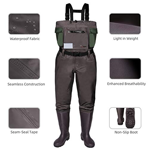 RUNCL Chest Waders, Waist-High Waders, Bootfoot Waders - Reinforced Nylon Outer Layer, Seamless Breathable Tech, Ergonomic Design, Fly Patch - Wader Fishing Fly Fishing Hunting (Brown, M6/W8)
