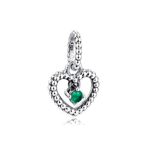 LILIANG Abalorios De Corazón con Cuentas Verdes 925 Original Fit Pandora Pulsera Abalorios De Plata Esterlina para Hacer Joyas