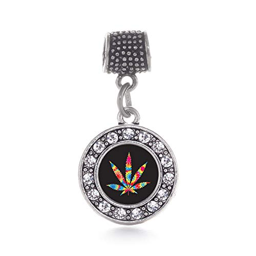Inspired Silver - Tie Dye Marijuana Leaf Memory Charm for Women - Silver Circle Charm for Bracelet with Cubic Zirconia Jewelry