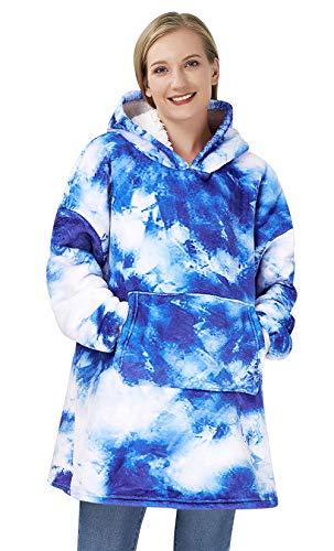 Goodstoworld Blantket Sudadera con Capucha de Gran tamaño Sherpa Fleece Manta 3D Hoodie Pullover Sudadera de Blue Tie Dye con Bolsillo Frontal Gigante Unisex Kid Teens