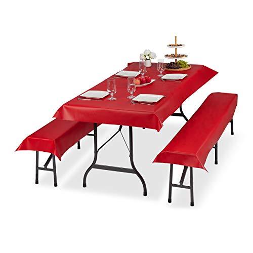 Relaxdays Bierzeltgarnitur Auflage 3er Set, Biertisch Tischdecke 250x100cm, 2 Bierbankauflagen 250x55cm, abwaschbar, rot