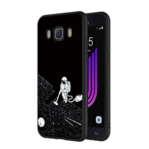 ZhuoFan Cover Samsung Galaxy J7 2016, Custodia Cover Silicone Nero con Disegni Ultra Slim TPU Morbido Antiurto 3D Cartoon Bumper Case Protettiva per Samsung Galaxy J7 2016 Smartphone (Spazio)