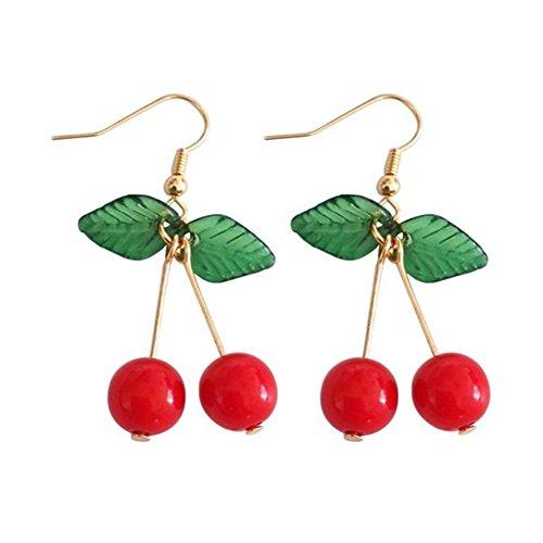 18K Gold Plated Sweety Fruit Green Leaf Red Cherry Charm Women Girls Dangle Earring