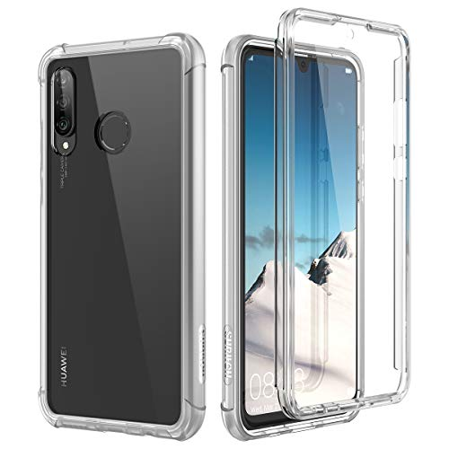 SURITCH Kompatibel mit Huawei P30 Lite Hülle Transparent, 360 Grad Stoßfest Schutzhülle, Durchsichtig Handyhülle Hybrid R&umschutz mit Bildschirmschutz & Silikon TPU Bumper - Klar