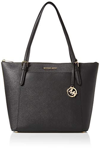 "Saffiano leather with gold-tone hardware. Zip-top closure. Front and back slip pockets. MK logo medallion hangtag. Double leather handles with 9"" drop. Interior: Logo lining; zip pocket and multifunction slip pockets. Approximate measurements: 15""W X..."