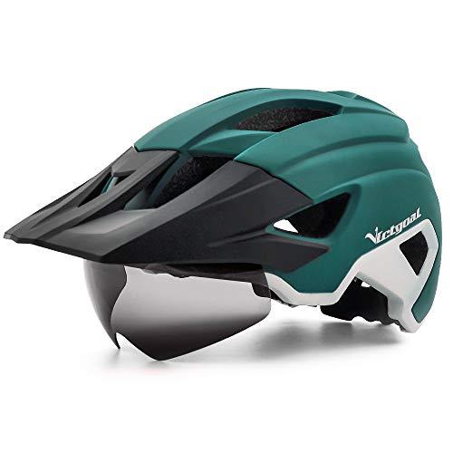 VICTGOAL Fahrradhelm MTB Helm für Erwachsene Leichte Stadt-Fahrradhelm LED Rücklicht mit Magnetischem Brille Abnehmbarer Visier Verstellbar Radhelm für Herren Damen (Cyan Weiß)