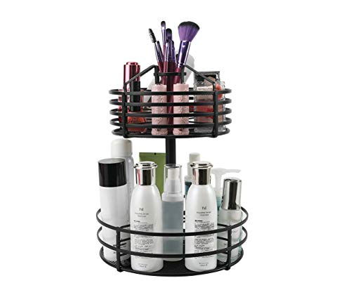 PAG 2-Tier Makeup Organizer Cosmetic Storage Case and Display Stand Multi-Function Lazy Susan Spice Rack, 360 Degree Rotation, Black