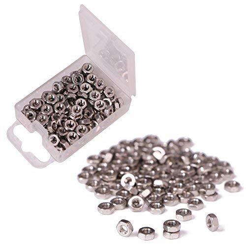 Shapenty 100PCS 3mm Small Stainless Steel Female Thread Hex Screw Nut Fastener Tool, M3