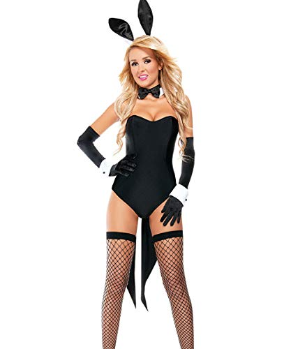 Kadila Damen 6 Stücke Sexy Bunny Girl Cosplay Dessous Set Party Festival Halloween Kostüm (Schwarz, One Size)