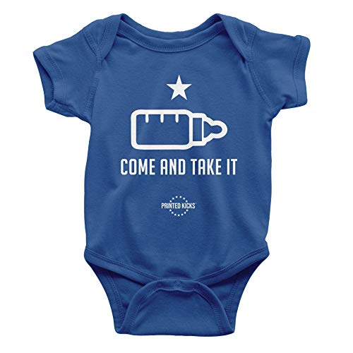 Printed Kicks Come and Take it Onesie Funny Military Theme Baby Bodysuit Outfit (Royal Blue, 6 Months)