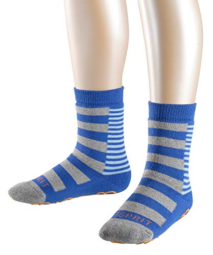 ESPRIT Kinder Stoppersocken Block Stripe - 82% Baumwolle, 1 Paar, Blau (Deep Blue 6046), Größe: 39-42