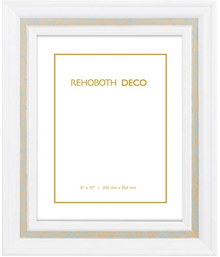 Rehoboth Deco 8x10 Wall Picture Frame, High Clarity Glass Glazing, White with Gold/Sky Blue Foil Trim, Semi-Gloss Paint Finish, Made of Wood. Best for Memorial Remembrance, Nursery Room(ATH200WHT0810)