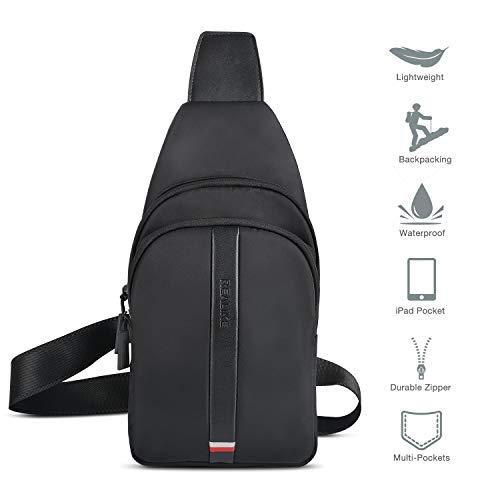 REALIKE Brusttasche Sling Bag Rucksack Schultertasche Umhängetasche für Damen und Herren Crossbody Daypack Sporttasche (Schwarz)