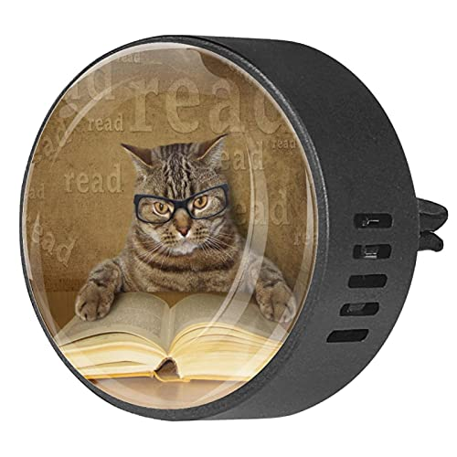 Difusor de aromaterapia para coche,Gato leyendo un libro con gafas. ,Clip de ventilación de desodorante de área redonda 2PCS Aceite esencial para difusor de automóvil