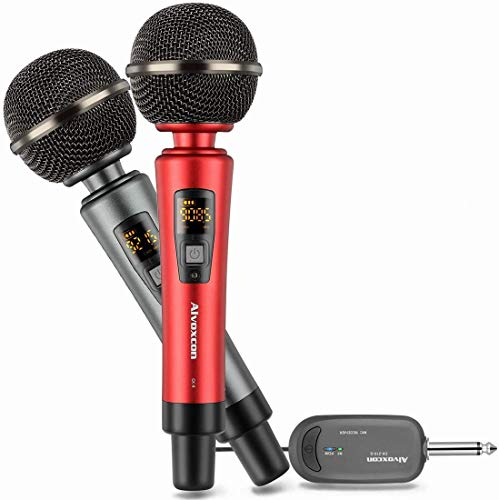 Wireless Microphone System, Rechargeable UHF Dynamic Handheld mics for iPhone, DSLR Camera, Karaoke, PA Speaker, DJ, Video Vocal Recording, Singing, YouTube, Podcast, Vlog, Church, Interview