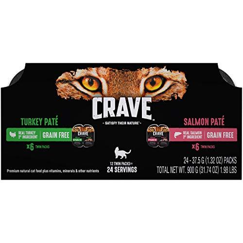 Crave Grain Free High Protein Turkey Paté and Salmon Paté Mutipack Wet Cat Food (24 Twin Packs, 2.6 oz each)
