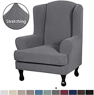 H.VERSAILTEX Durable Soft High Stretch Jacquard 2 Piece Wingback Chair Cover Charcoal Gray Couch Covers Lycra Furniture Protector Machine Washable Spandex Sofa Covers, Wing Chair Slipcover