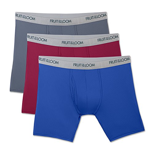 Fruit of the Loom Men's 3-Pack Everlight Boxer Briefs, Assorted, Large