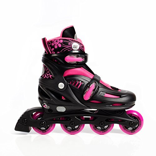 High Bounce Adjustable Inline Skate (Pink, Small (12-1) ABEC 5)