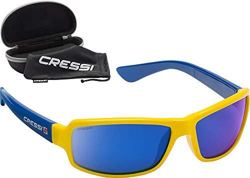 Cressi CERSSI Ninja Floating' Lunettes de Soleil de Sport Flottantes Polarisées Anti UV 100% Mixte, Jaune Verres Miroir Bleu, Taille Unique