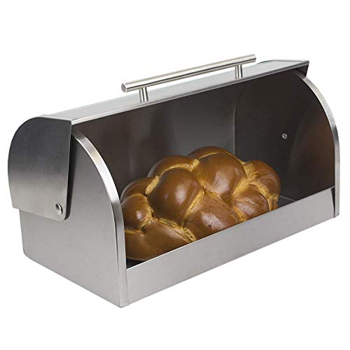 Linen Store Bread Box With Glass Cover Stainless Steel Clear