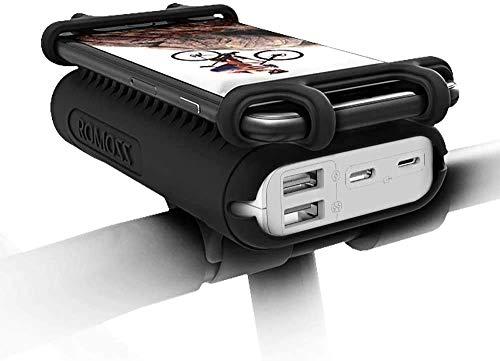 ROMOSS Fahrrad Handyhalter mit Akkupack, 10000mAh Powerbank für 4-6 Zoll Smartphone Kompatibel für Rennrad, Fahrradfahren, Mountainbike, Motorrad und Motorroller
