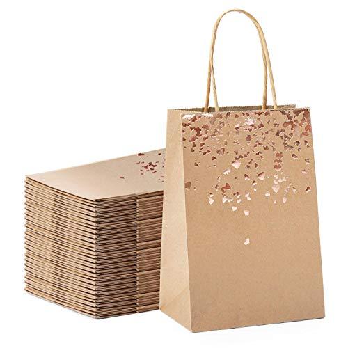 YLX Sac Cadeau, Sac en Papier Kraft avec Poignée Recyclable pour Anniversaire Mariage Noël et Célébrations de Fête (20PCS)
