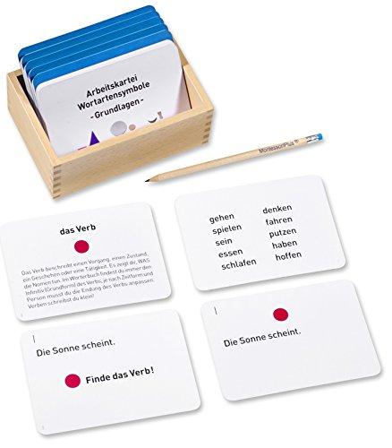 Arbeitskartei Montessori-Material Wortartensymbole, 100 Aufgabenkarten mit Einführung und Selbstkontrolle